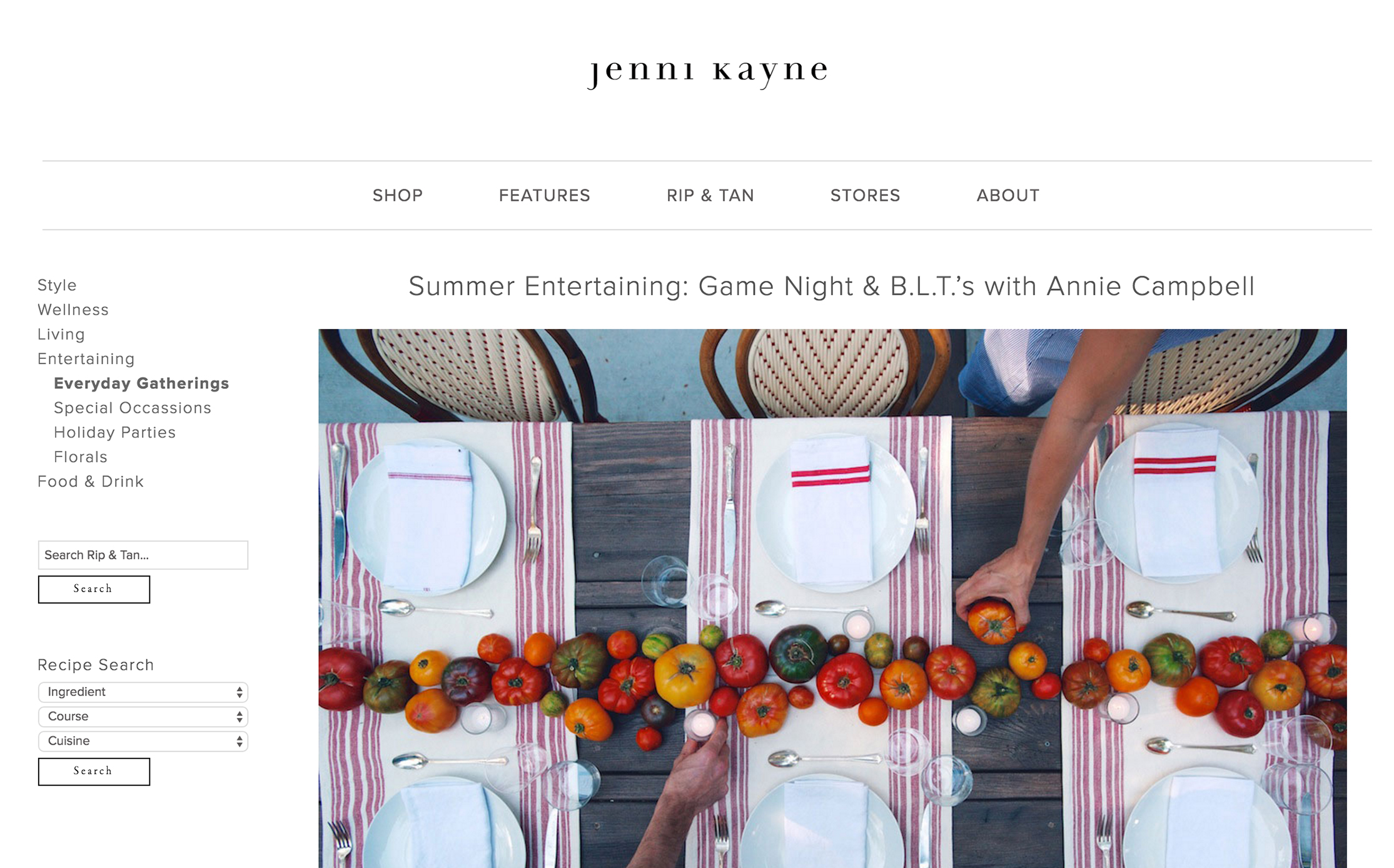 RIP AND TAN //  Summer Game Night + B.L.T.s featuring annie campbell