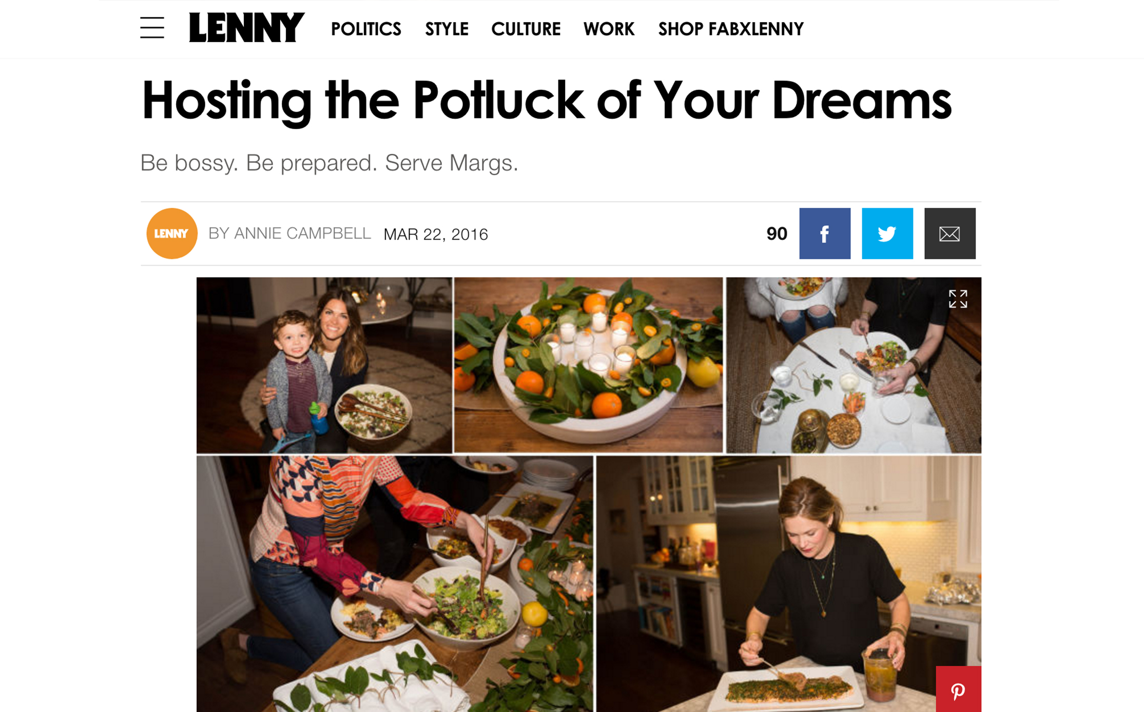 LENNY LETTER // How to Host a Potluck by annie campbell